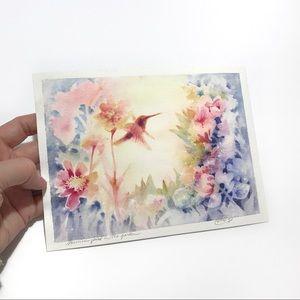 Original painting hummingbird watercolor art